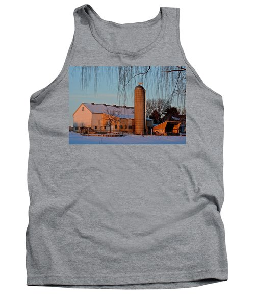 Amish Farm At Turquoise Dusk Tank Top