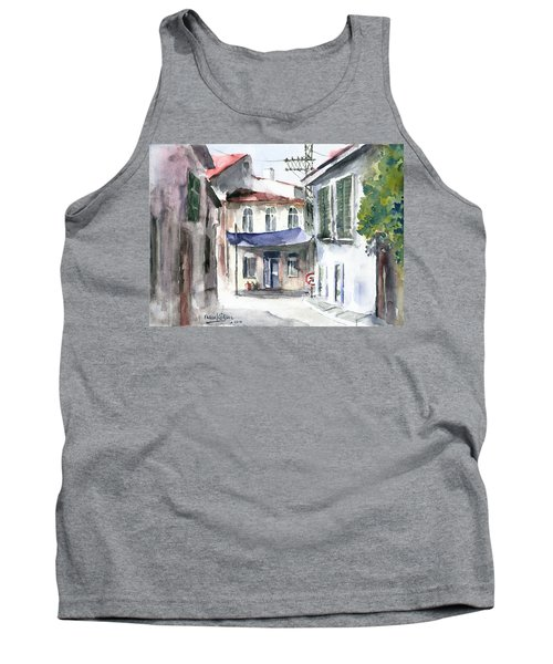 Tank Top featuring the painting An Authentic Street In Urla - Izmir by Faruk Koksal