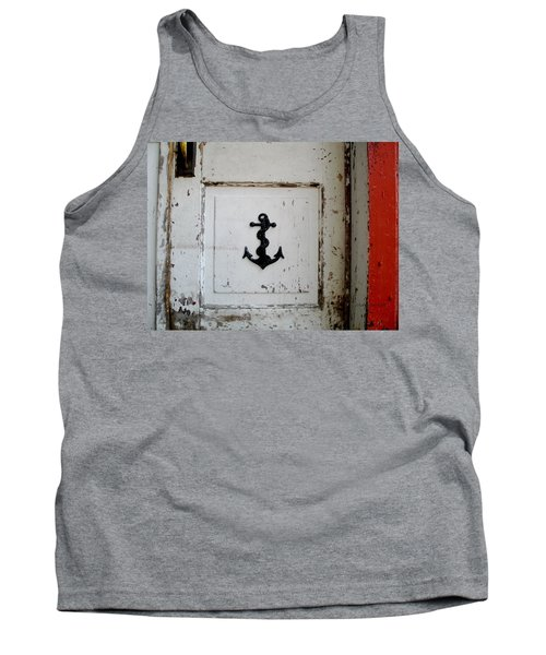 Anchor On Old Door Tank Top by Kathy Barney