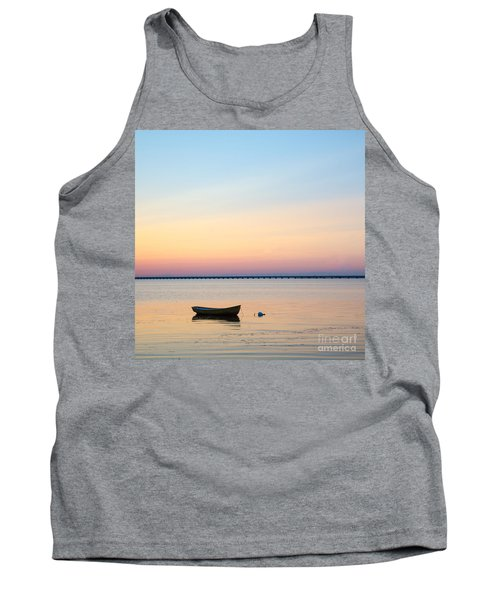 Tank Top featuring the photograph Anchored At Sunset by Kennerth and Birgitta Kullman