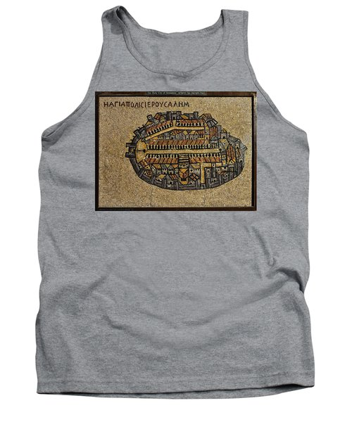 Ancient Jerusalem Mosaic Map Color Framed Tank Top