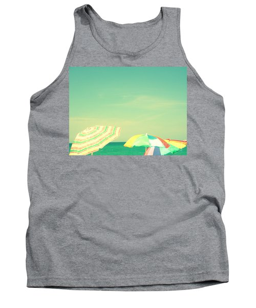 Tank Top featuring the digital art Aqua Sky With Umbrellas by Valerie Reeves