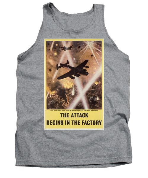 Attack Begins In Factory Propaganda Poster From World War II Tank Top