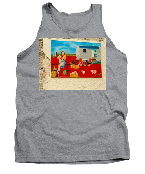 Austin - Camping Mural Tank Top by Allen Sheffield