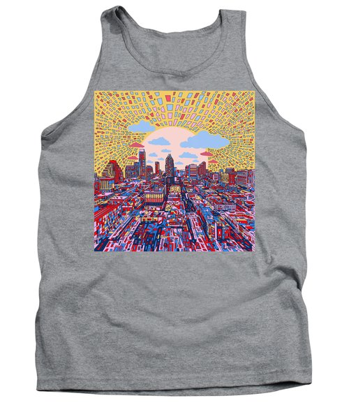 Austin Texas Abstract Panorama 2 Tank Top by Bekim Art
