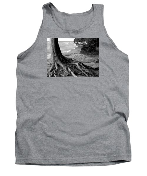 B And W Cedar Roots At Cave Point Tank Top by David T Wilkinson