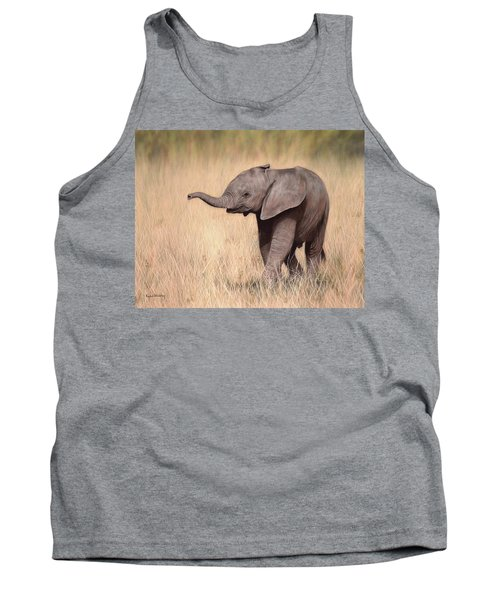 Elephant Calf Painting Tank Top by Rachel Stribbling