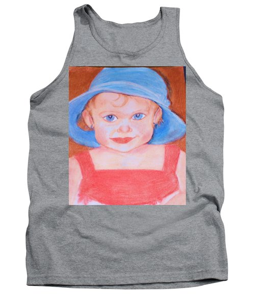 Tank Top featuring the pastel Baby In Blue Hat by Christy Saunders Church