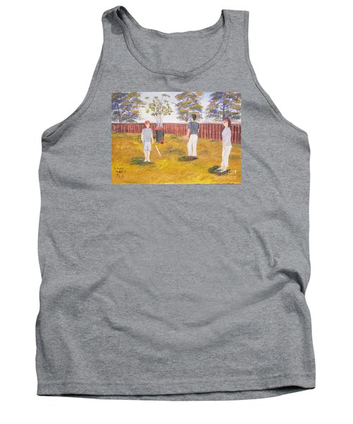 Tank Top featuring the painting Backyard Cricket Under The Hot Australian Sun by Pamela  Meredith