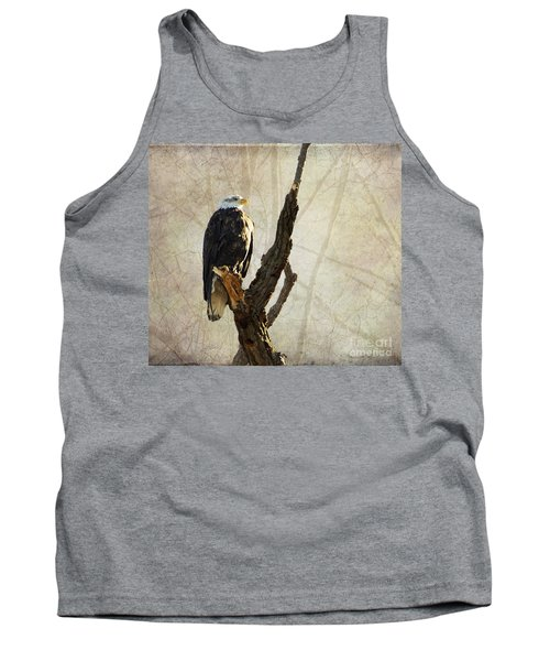 Bald Eagle Keeping Watch In Illinois Tank Top by Luther Fine Art
