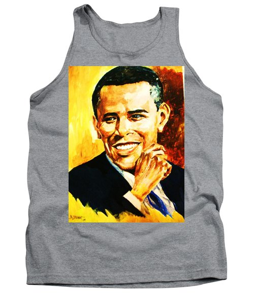 Tank Top featuring the painting Barack Obama by Al Brown