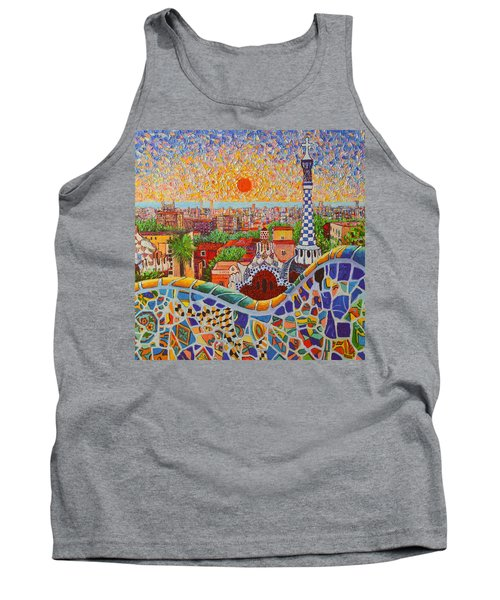 Barcelona Sunrise Light - View From Park Guell Of Gaudi - Square Format Tank Top
