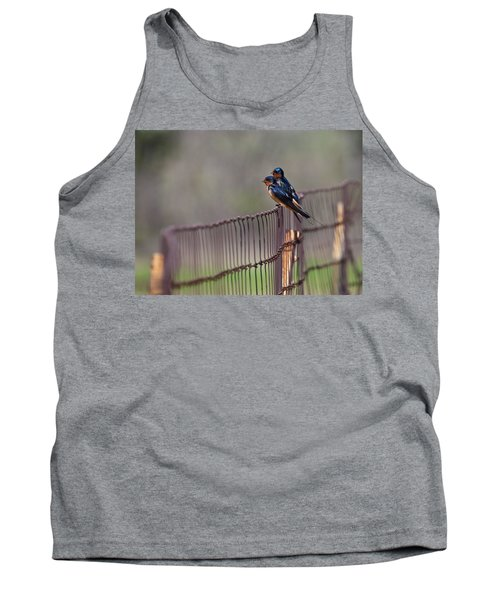 Barn Swallows On The Fence Tank Top