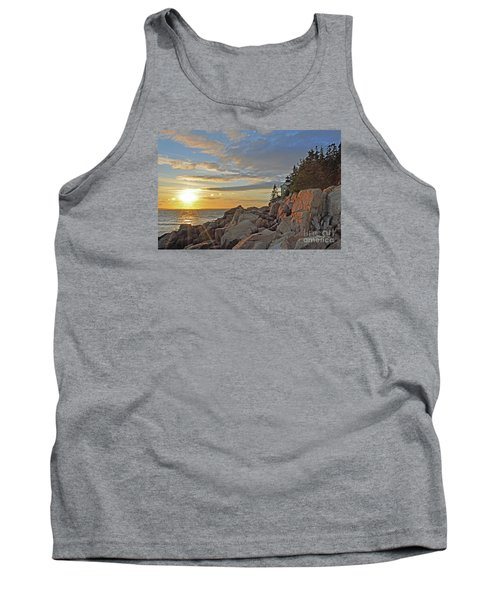 Tank Top featuring the photograph Bass Harbor Lighthouse Sunset Landscape by Glenn Gordon