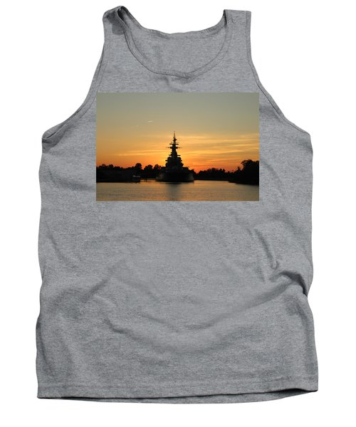 Tank Top featuring the photograph Battleship At Sunset by Cynthia Guinn