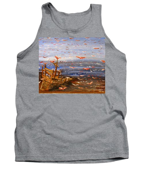 Beach Boat And Birds Tank Top
