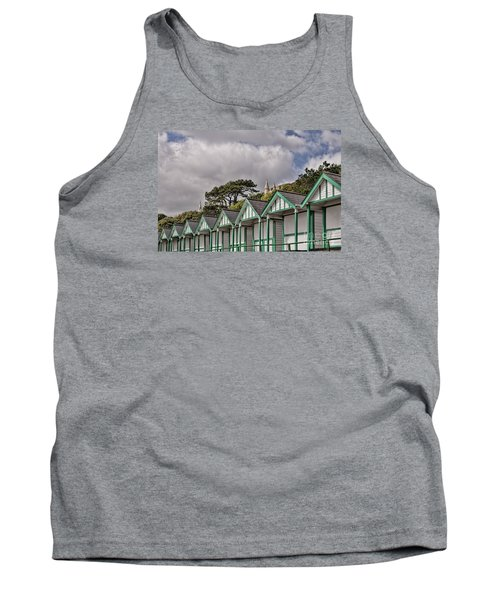 Beach Huts Langland Bay Swansea 3 Tank Top by Steve Purnell