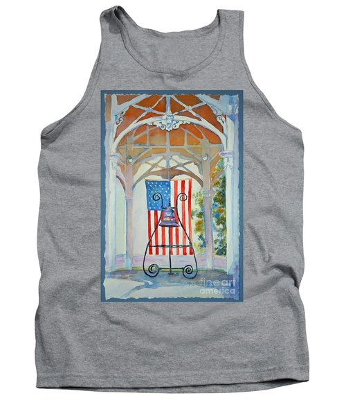 Tank Top featuring the painting Bell And Flag by Mary Haley-Rocks