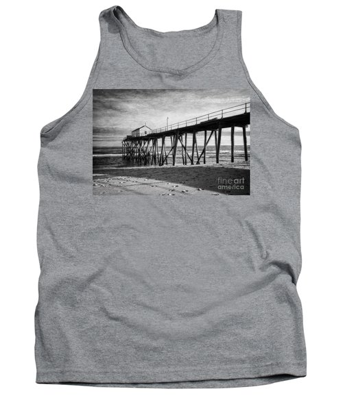 Tank Top featuring the photograph Belmar Fishing Pier In Black And White by Debra Fedchin