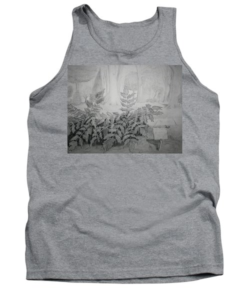 Tank Top featuring the drawing Bernheim Forest Plant by Stacy C Bottoms