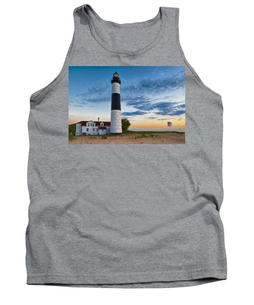 Tank Top featuring the photograph Big Sable Point Lighthouse Sunset by Sebastian Musial