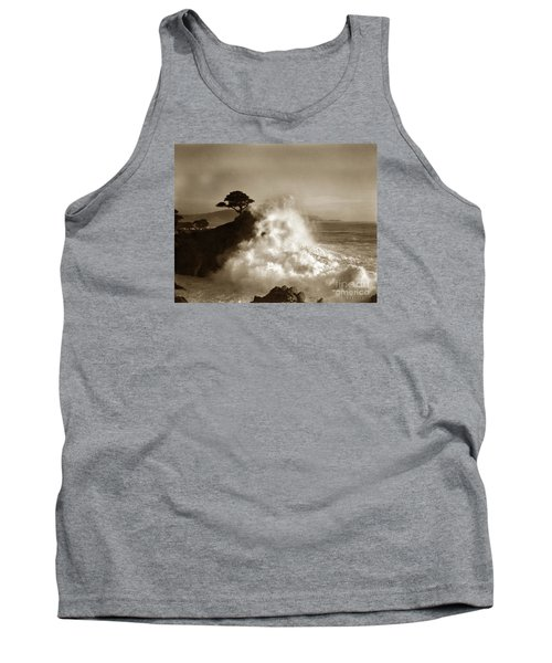 Big Wave Hitting The Lone Cypress Tree Pebble Beach California 1916 Tank Top