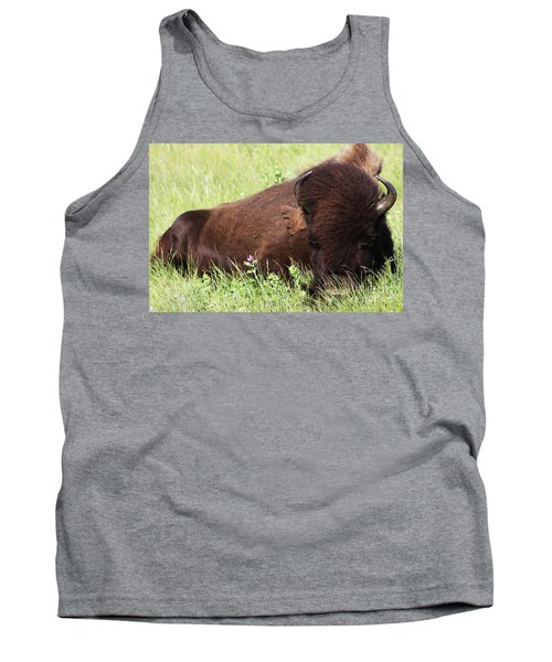Tank Top featuring the photograph Bison Nap by Alyce Taylor