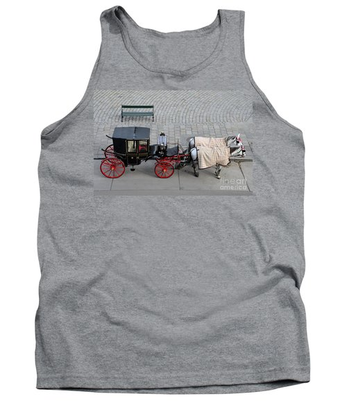 Tank Top featuring the photograph Black And Red Horse Carriage - Vienna Austria  by Imran Ahmed