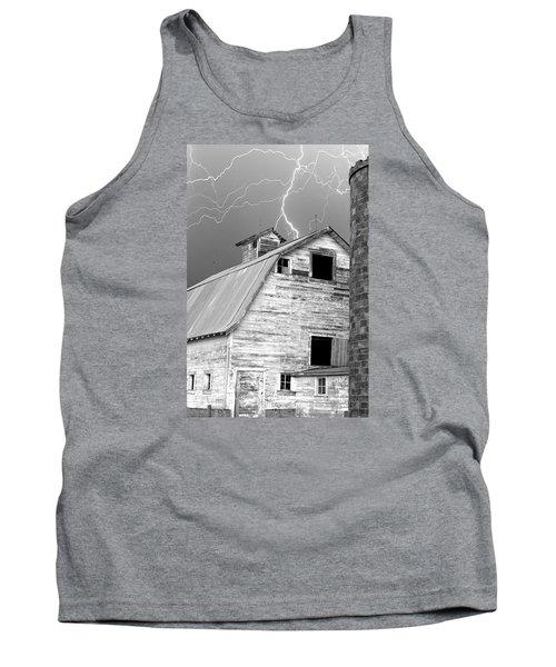Black And White Old Barn Lightning Strikes Tank Top