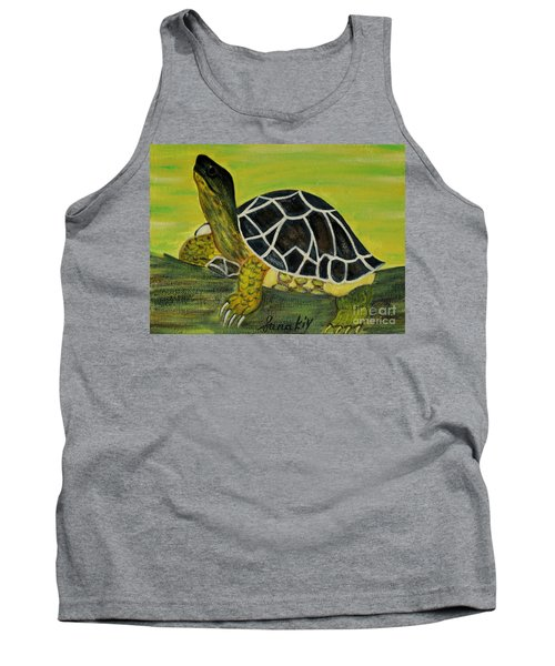 Tank Top featuring the painting Black Turtle. Inspirations Collection. by Oksana Semenchenko