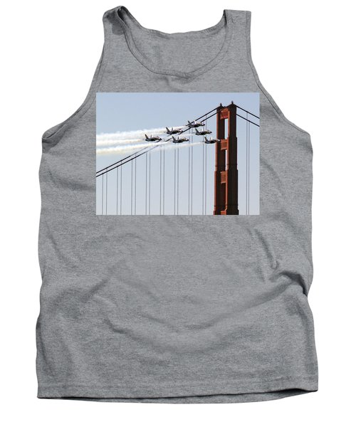Blue Angels And The Bridge Tank Top by Bill Gallagher