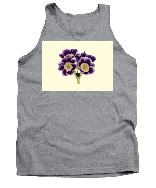 Tank Top featuring the photograph Blue Auricula On A Cream Background by Paul Gulliver