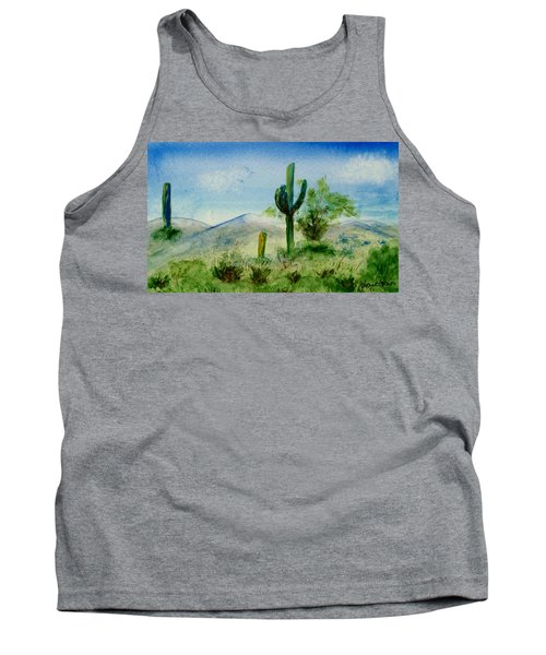 Tank Top featuring the painting Blue Cactus by Jamie Frier