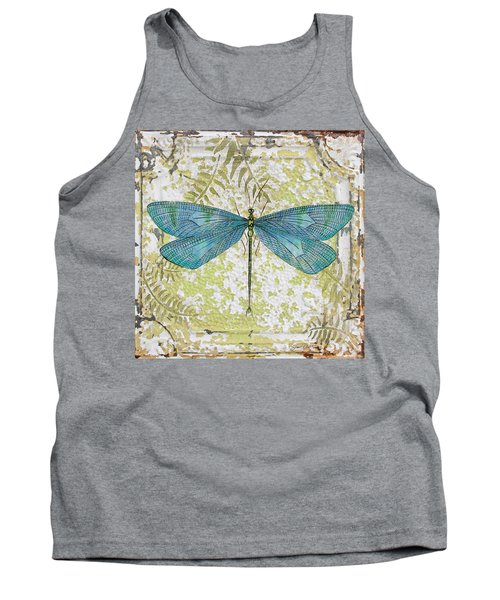 Blue Dragonfly On Vintage Tin Tank Top by Jean Plout