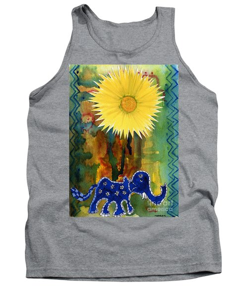 Tank Top featuring the painting Blue Elephant In The Rainforest by Mukta Gupta