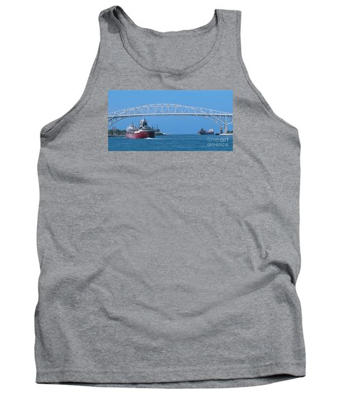 Blue Water Bridge And Freighters Tank Top by Ann Horn