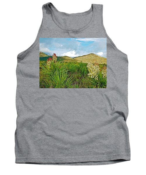 Blue Yucca And Chisos Mountains In Big Bend National Park-texas Tank Top
