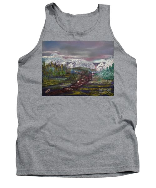 Tank Top featuring the painting Blurred Mountain by Jan Dappen