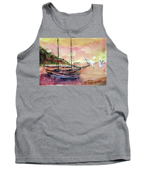 Tank Top featuring the painting Boats In Sunset  by Faruk Koksal