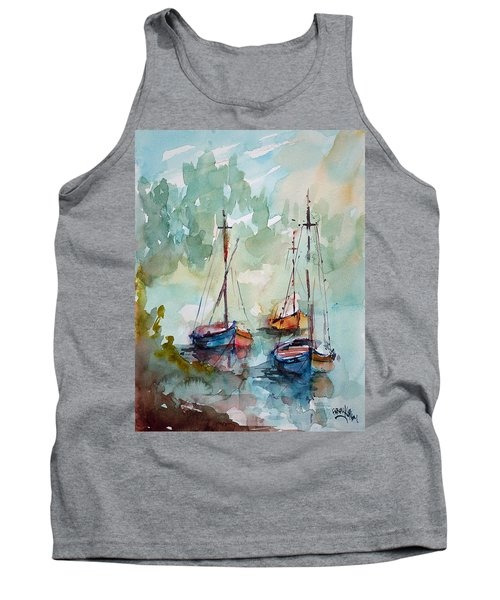 Tank Top featuring the painting Boats On Lake  by Faruk Koksal