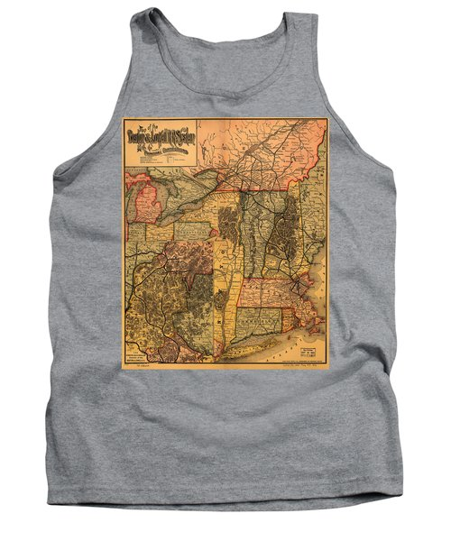 Boston And Lowell Railroad Map 1886 Tank Top