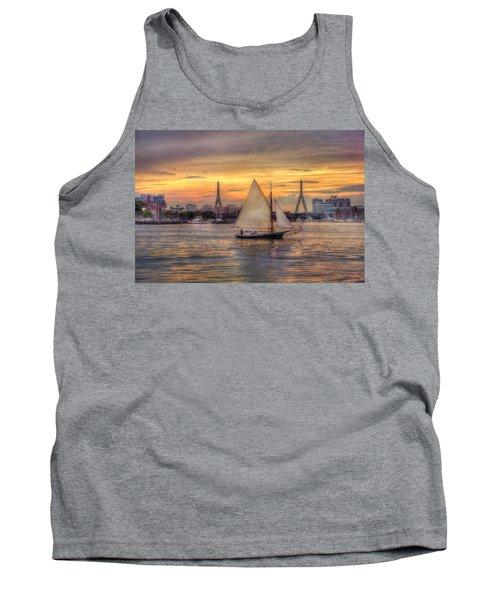 Boston Harbor Sunset Sail Tank Top by Joann Vitali