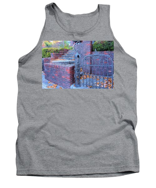 Tank Top featuring the photograph Brick Wall With Wrought Iron Gate by Janette Boyd