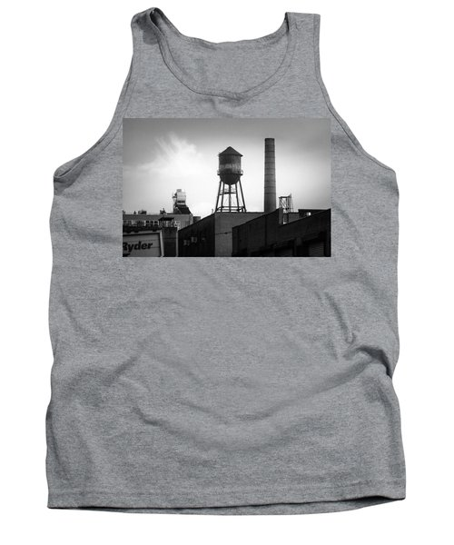 Tank Top featuring the photograph Brooklyn Water Tower And Smokestack - Black And White Industrial Chic by Gary Heller