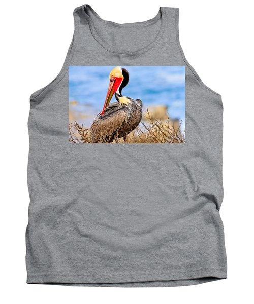 Brown Pelican Posing Tank Top