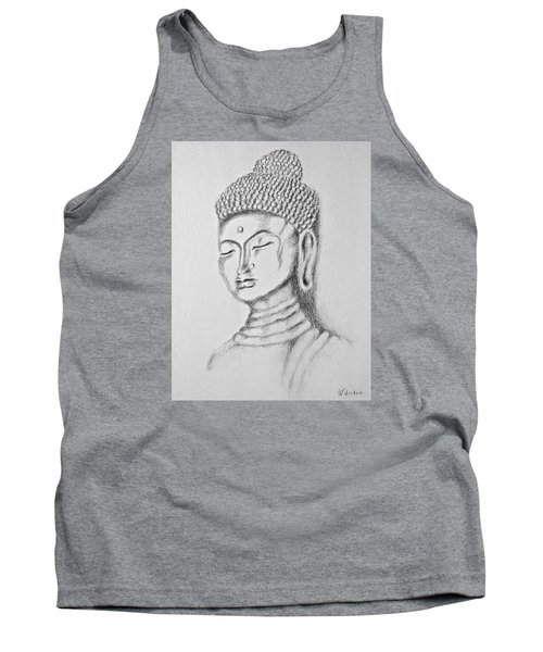 Tank Top featuring the drawing Buddha Study by Victoria Lakes