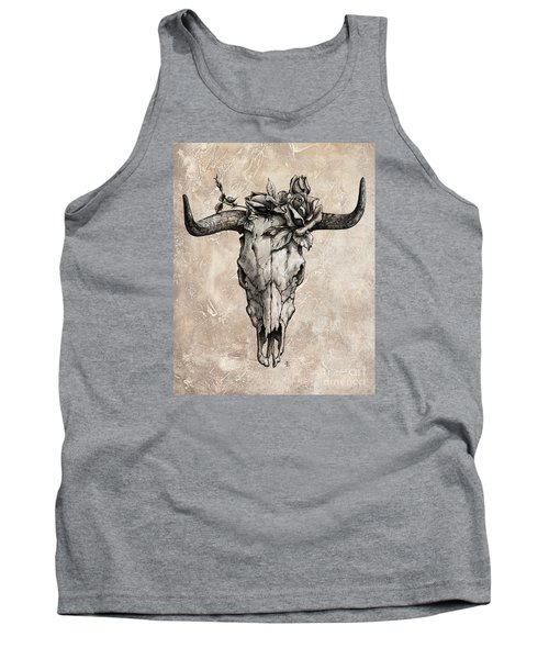 Bull Skull And Rose Tank Top by Emerico Imre Toth