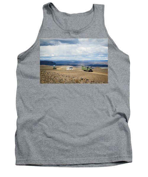 Tank Top featuring the photograph Buses Of Landmannalaugar by Peta Thames