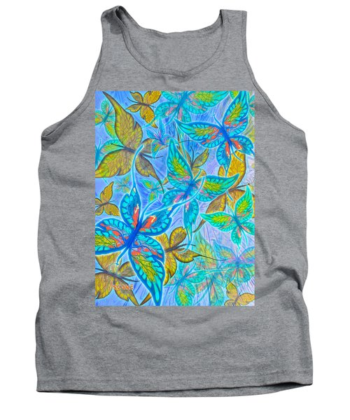 Tank Top featuring the mixed media Butterflies On Blue by Teresa Ascone