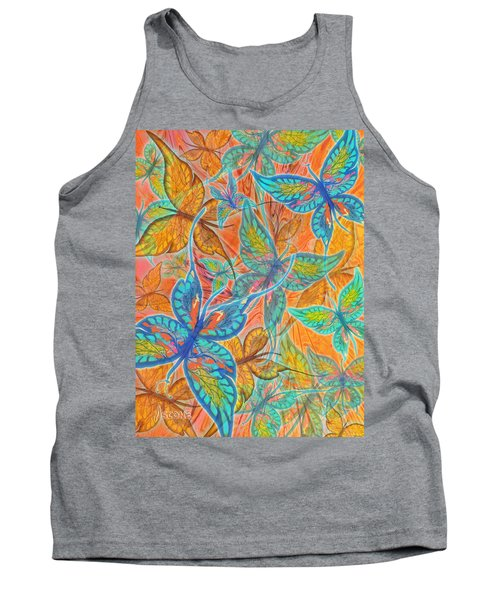 Tank Top featuring the painting Butterflies On Tangerine by Teresa Ascone